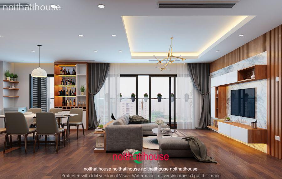 Thiết kế nội thất chung cư tông màu nâu gỗ chủ đạo
